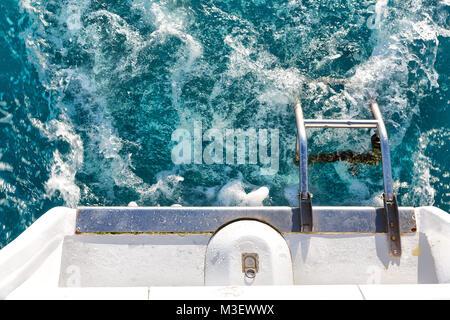 in australia ocean the rear of a catamaran yacht and sea - Stock Photo