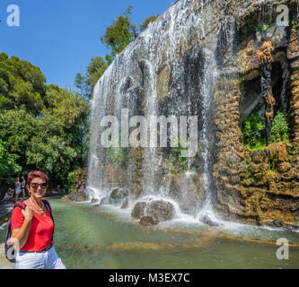 France, Alpes-Maritime department, Côte d'Azur, Nice, view of the Cascade du Casteu waterfall on Castle Hill, Colline - Stock Photo