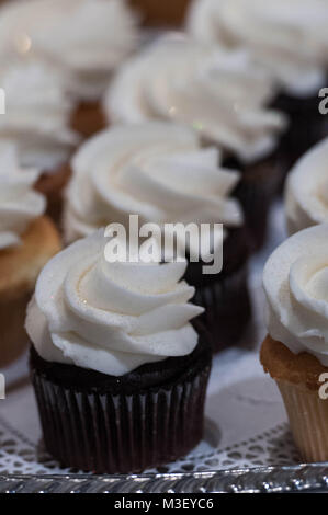 Chocolate Cupcakes with Vanilla Buttercream Frosting - Stock Photo