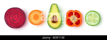 Isolated vegetable pieces. Fresh slices of vegetables (beetroot, carrot, avocado, bell pepper, cucumber) in a row, - Stock Photo
