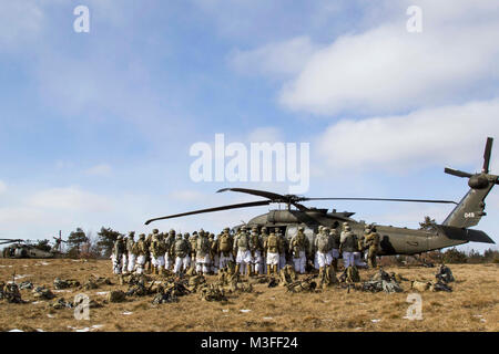 Aviators from C Company, 2-10 Assault Helicopter Battalion,10th Combat Aviation Brigade, 10th Mountain Division - Stock Photo