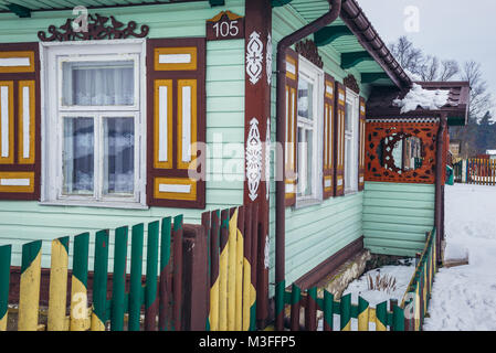 Decorated house in Soce village on so called The Land of Open Shutters trail, famous for traditional architecture - Stock Photo