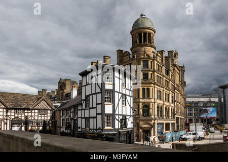 Sinclairs oyster bar, The Old Wellington inn and Corn Exchange building, Manchester, UK - Stock Photo