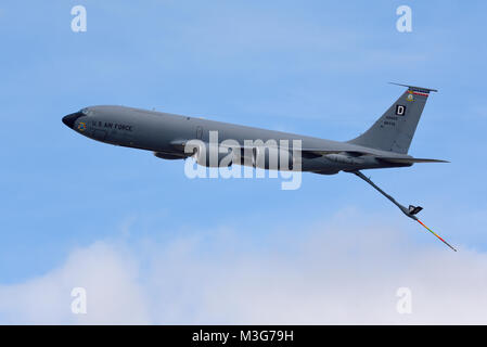 US Air Force Boeing KC-135R Stratotanker tanker transport plane trailing its refueling boom. Based at RAF Mildenhall, - Stock Photo