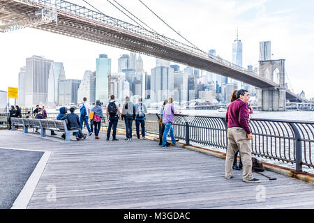 Brooklyn, USA - October 28, 2017: Outside outdoors in NYC New York City Brooklyn Bridge Park with many crowd of - Stock Photo