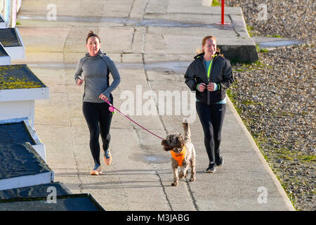 Lyme Regis, Dorset, UK.  11th February 2018.  UK Weather.  Two joggers with their dog on the seafront enjoying the - Stock Photo