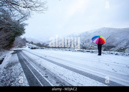 Lake District, Cumbria,  UK Weather. A yellow warning for snow in the area from the Met Office for today with snow - Stock Photo
