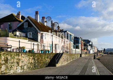 Lyme Regis, Dorset, UK.  11th February 2018.  UK Weather.  Marine Parade on a sunny morning at Lyme Regis in Dorset - Stock Photo