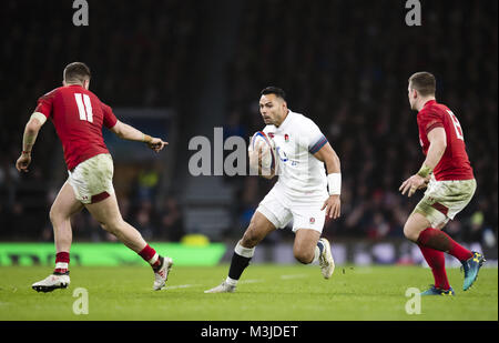 Twickenham, UK. 10th February, 2018: England's Ben Te'o in action during the NatWest 6 Nations match at Twickenham - Stock Photo