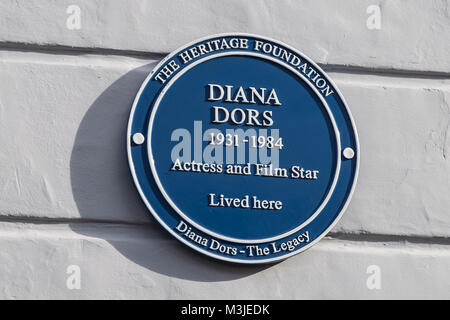 London, UK. 11th Feb 2018. A Blue Plaque to commemorate Diana Dors is unveiled her former home on Burnsall Street - Stock Photo