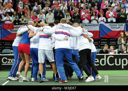 Prague, Czech Republic. 11th Feb, 2018. Czech tennis team celebrates winning during in their Fed Cup match between - Stock Photo