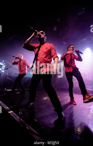 London, UK. 10th Feb, 2018. Riot Propaganda seen at the gig in London.Riot propaganda is a Spanish music band and - Stock Photo