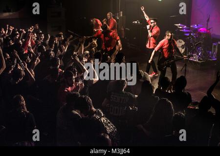 London, UK. 11th Feb, 2018. Riot Propaganda seen performing during their gig in London.Riot propaganda is a Spanish - Stock Photo