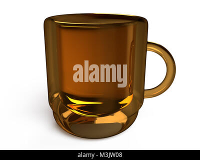 Closeup view of glossy mug on a white background, 3D rendering - Stock Photo