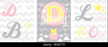 posters set of dream big little one slogan with baby cat and balloon with initial d. can be used for nursery art - Stock Photo