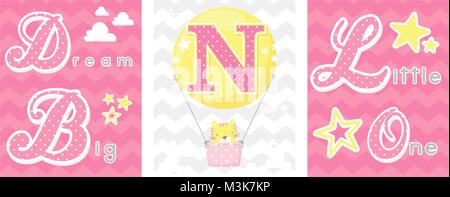 posters set of dream big little one slogan with baby cat and balloon with initial n. can be used for nursery art - Stock Photo