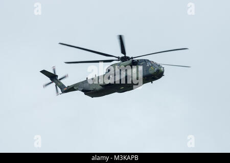 BERLIN, GERMANY - JUNE 01, 2016: Heavy-lift cargo helicopter Sikorsky CH-53 Sea Stallion of the German Army. Demonstrative performance. Exhibition ILA Berlin Air Show 2016