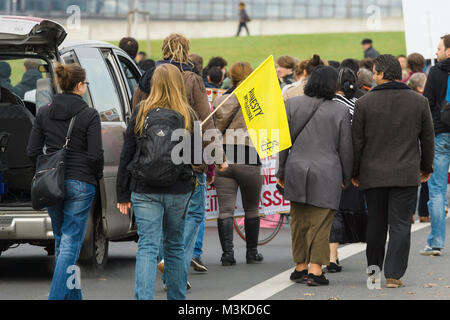 BERLIN, GERMANY - OCTOBER 25, 2013: The action of solidarity with the people of Sinti and Roma in the government - Stock Photo