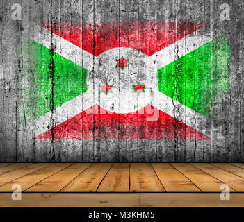 Burundi flag painted on background texture gray concrete with wooden floor - Stock Photo