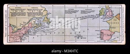1882 Bradstreet Atlas Map - Track Chart of the Cunard Line - Transatlantic Shipping - Boston to Liverpool - Stock Photo