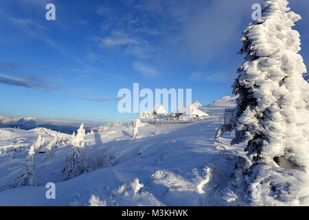Winter scene on a snow covered mountain with frozen cabins and pine trees. - Stock Photo
