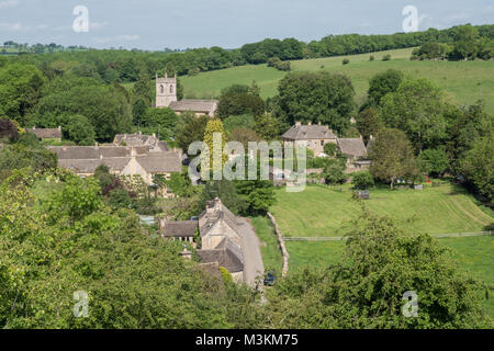 An elevated view of the English Cotswolds village of Naunton in Gloucestershire, England, UK. - Stock Photo
