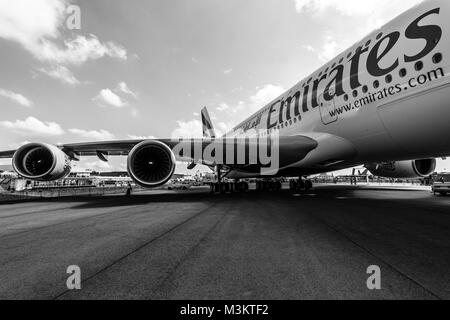 BERLIN, GERMANY - JUNE 02, 2016: Detail of the wing and a turbofan 'Engine Alliance GP7000' of the airliner - Airbus - Stock Photo