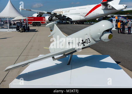 BERLIN, GERMANY - JUNE 02, 2016: Rheinmetall KZO - an unmanned aerial vehicle (UAV) with stealth characteristics - Stock Photo