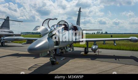 BERLIN, GERMANY - JUNE 02, 2016: Military Advanced Light Combat Aircraft Aero L-159 ALCA. Czech Air Force. Exhibition - Stock Photo