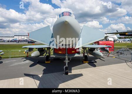 BERLIN, GERMANY - JUNE 02, 2016: Multirole fighter Eurofighter Typhoon. German Air Force (Luftwaffe). Exhibition - Stock Photo