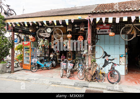 Penang, Malaysia, December 19 2017: Traditional shop in downtown Georgetown - Stock Photo