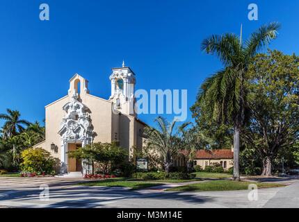 Coral Gables Congregational Church, Miami-Dade County, Florida, USA. - Stock Photo