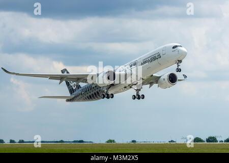 BERLIN, GERMANY - JUNI 02, 2016: Demonstration flight Airbus A350 XWB. Exhibition ILA Berlin Air Show 2016 - Stock Photo