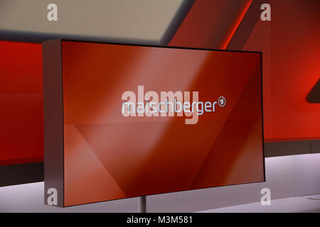 Symbolbild des Logo im Set der ARD Sendung Maischberger, immer Mittwoch in der ARD mit der Moderatorin Sandra Maischberger - Stock Photo