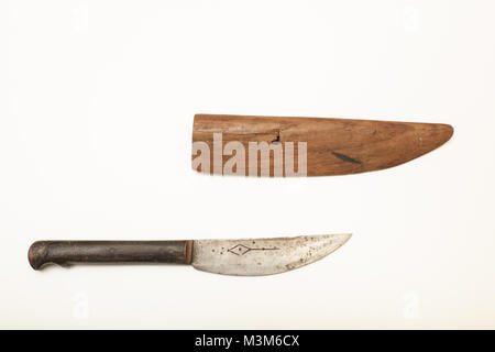Old knife with a wooden sheath to carry the weapon isolated on a white background with copy space - Stock Photo