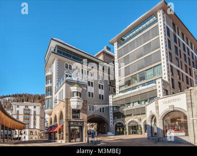 Architecture at the town center of St.Moritz, Grisons, Switzerland | Architektur im Stadtzentrum von St.Moritz Dorf, - Stock Photo