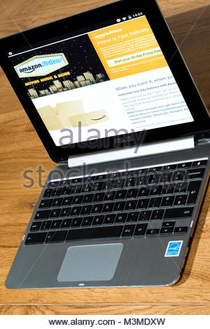 An open Asus Chromebook with the Amazon Prime app on the screen - Stock Photo