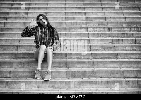 Girl in a clown makeup black and white - Stock Photo
