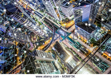 Smart cityscape high-tech tone connected, wireless communication network, abstract image visual - Stock Photo