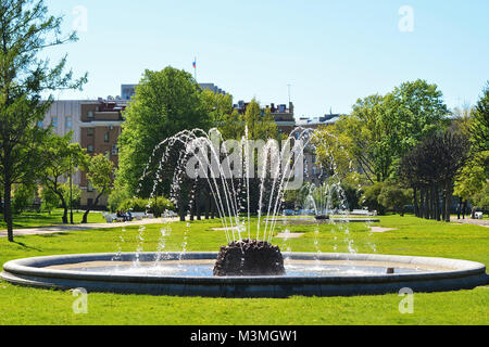 Fountains in the park near Smolny on a bright summer sunny day. - Stock Photo