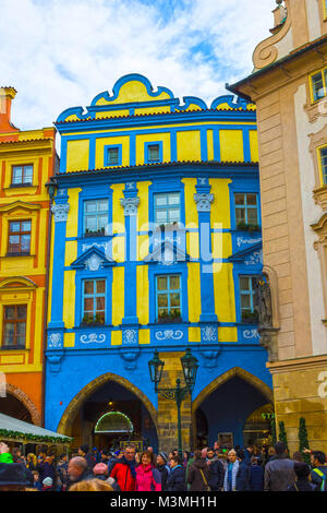 Prague, Czech Republic - December 31, 2017: Baroque architecture in Old Town Square. - Stock Photo