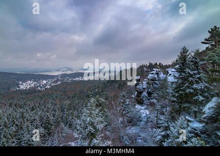 Jonsdorf, Muehlsteinbrueche in saxony landscape - Stock Photo