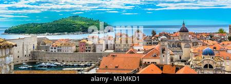 Aerial panoramic view at Dubrovnik old town, Lokrum island. - Stock Photo