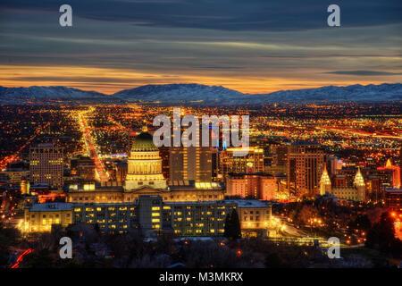 Salt Lake City Sunset taken in 2015 - Stock Photo