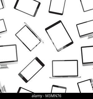 Realistic smartphone, tablet, laptop and desktop computer monitor device seamless pattern background. Business flat - Stock Photo