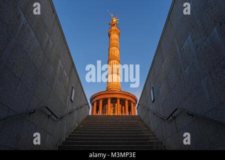 Victory Column, Goldelse, Berlin, Germany, Europe. Siegessaule monument, golden angel in Tiergarten park. Siegessaeule, - Stock Photo