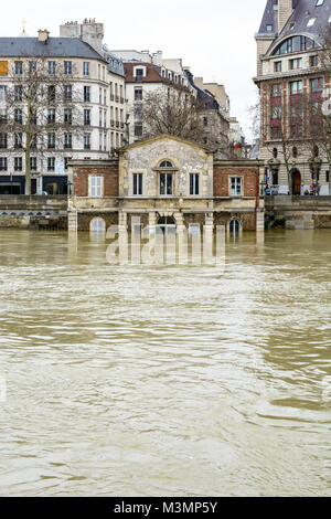 Paris, France - January 29, 2018: The house of the Celestins, former house of the inland water shipping service, - Stock Photo
