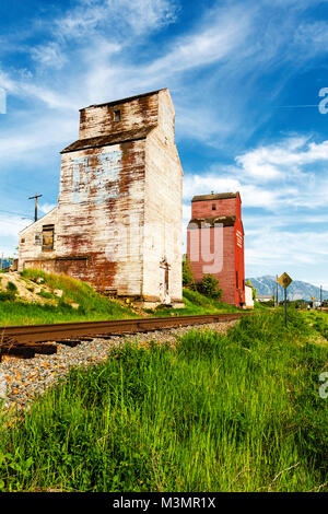 The vintage grain elevators at Creston, B.C. - Stock Photo
