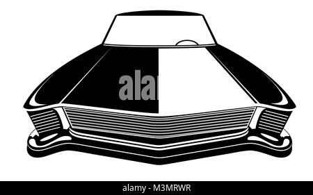 Retro American Muscle Car Poster Illustration With Car Standing On