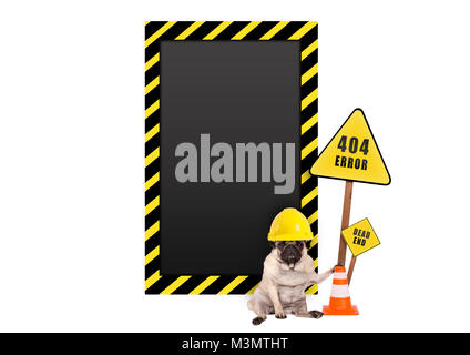 pug dog with yellow constructor safety helmet and 404 error and blank warning sign, isolated on white background - Stock Photo